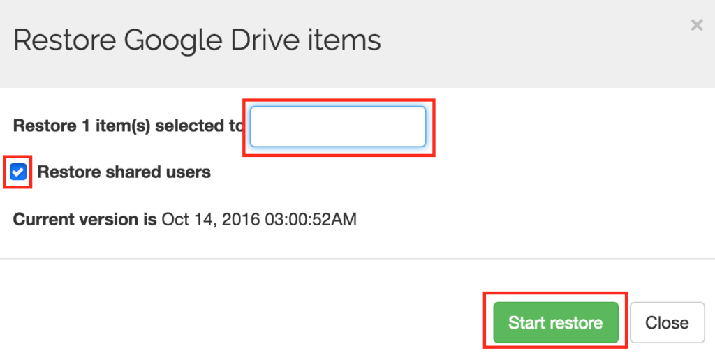 Spinbackup Google Drive recover start
