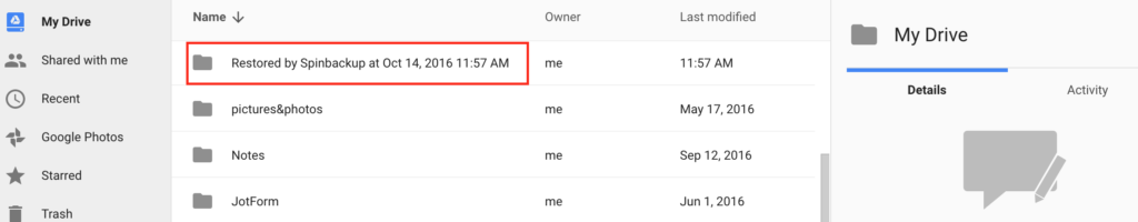 Spinbackup Google Drive recovered