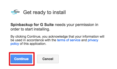 Spinbackup g suite ready to install