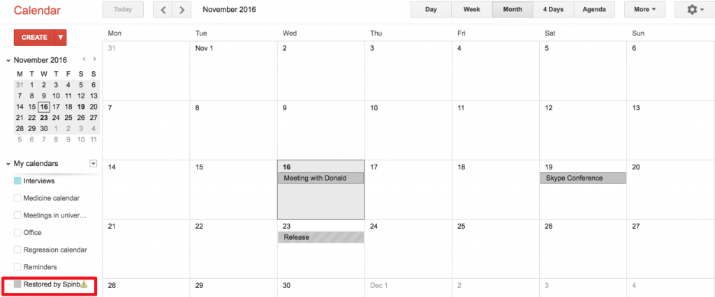 Spinbackup Google Calendar recovered