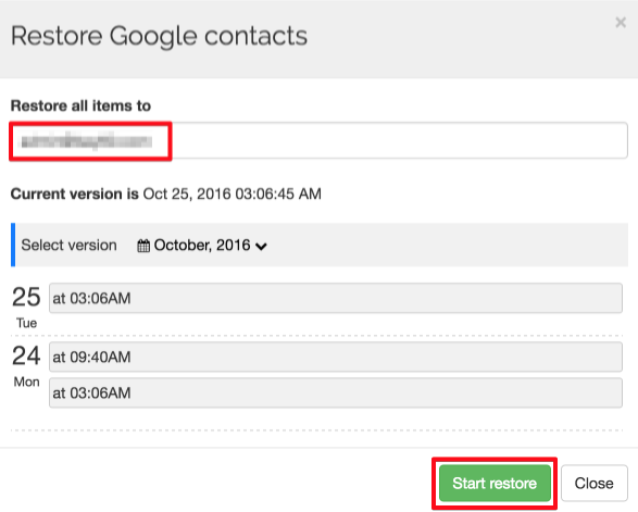 Spinbackup Google Contacts recover start