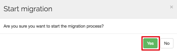 Spinbackup migration start yes