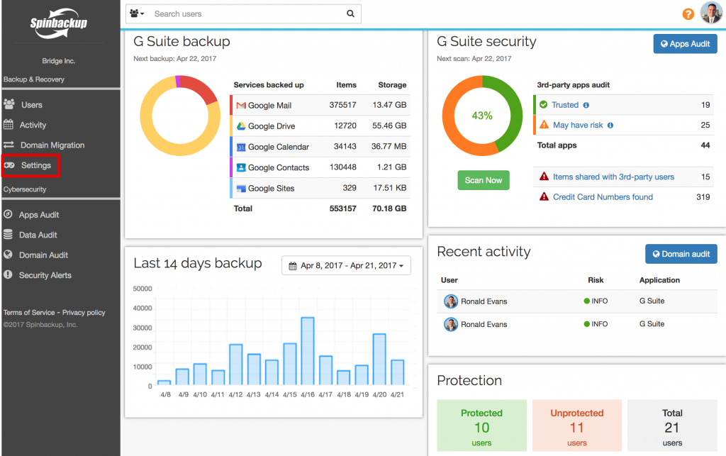 Spinbackup dashboard apr 21 settings