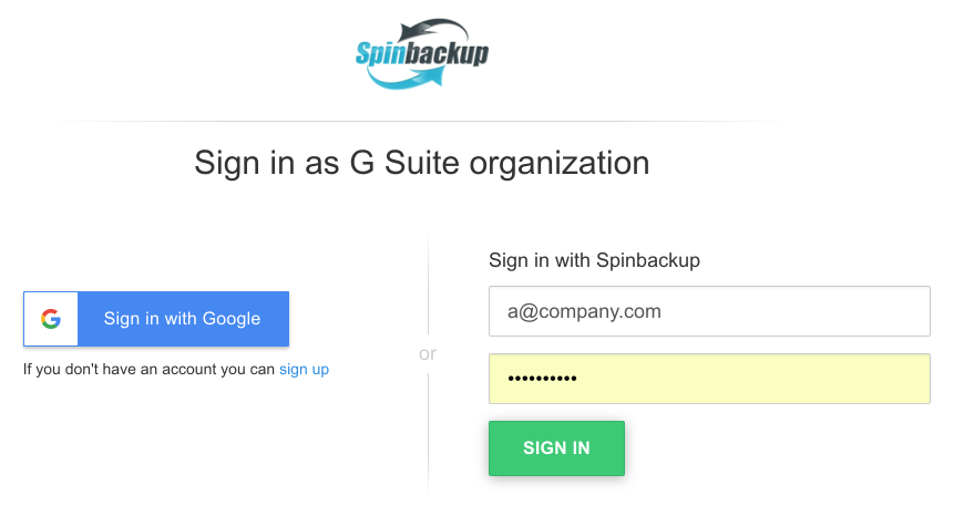 Spinbackup Sign In