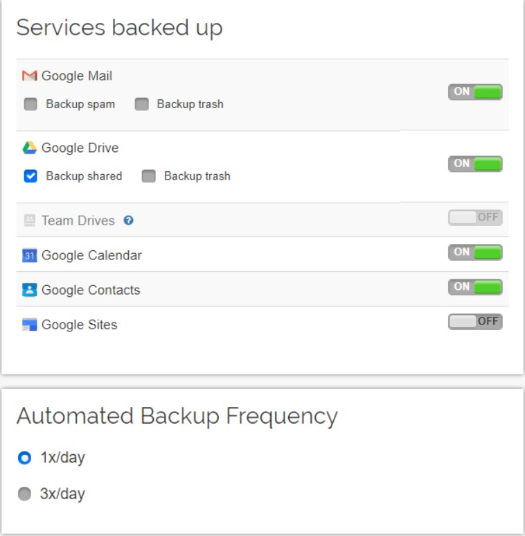automated backup settings
