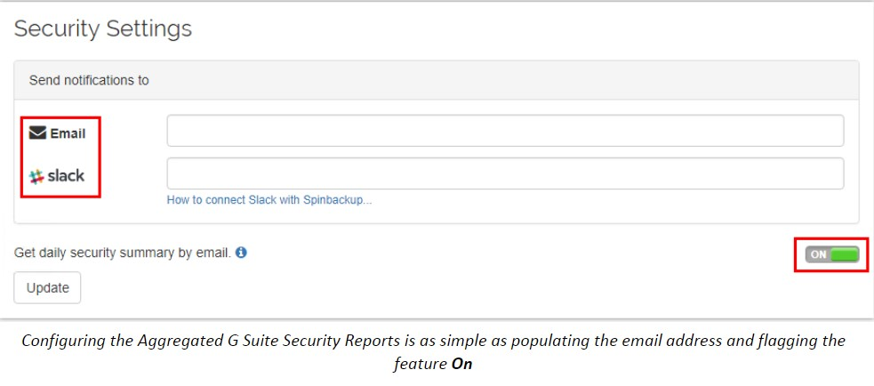 Configuring the Aggregated G Suite Security Reports is as simple as populating the email address and flagging the feature On
