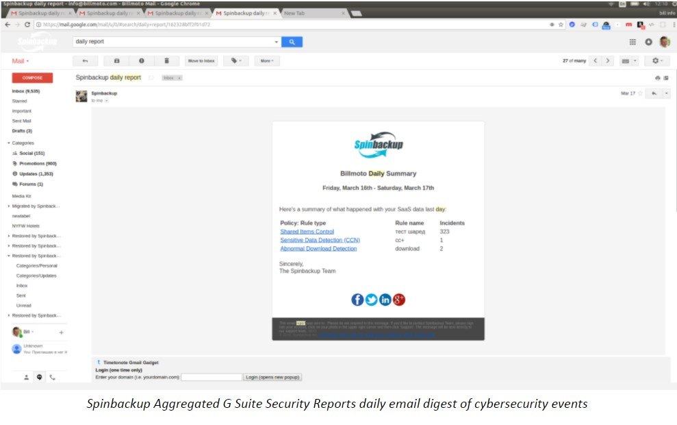Spinbackup Aggregated G Suite Security Reports daily email digest of cybersecurity events